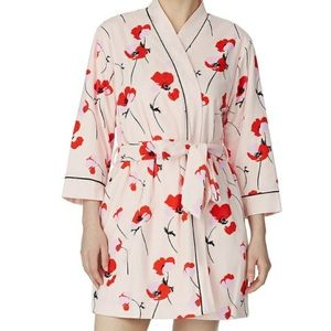 KATE SPADE PINK ROBE Floral Terry Short NEW L/XL